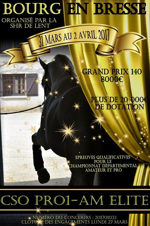 Affiche du concours CSO à Bourg en Bresse du 31 mars au 2 avril 2017